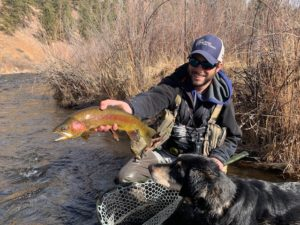 Guide Danny Frank with a winter Rainbow Trout from the South Platte near Deckers.