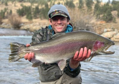 Huge trout from a private water guided fly fishing trip near Denver.