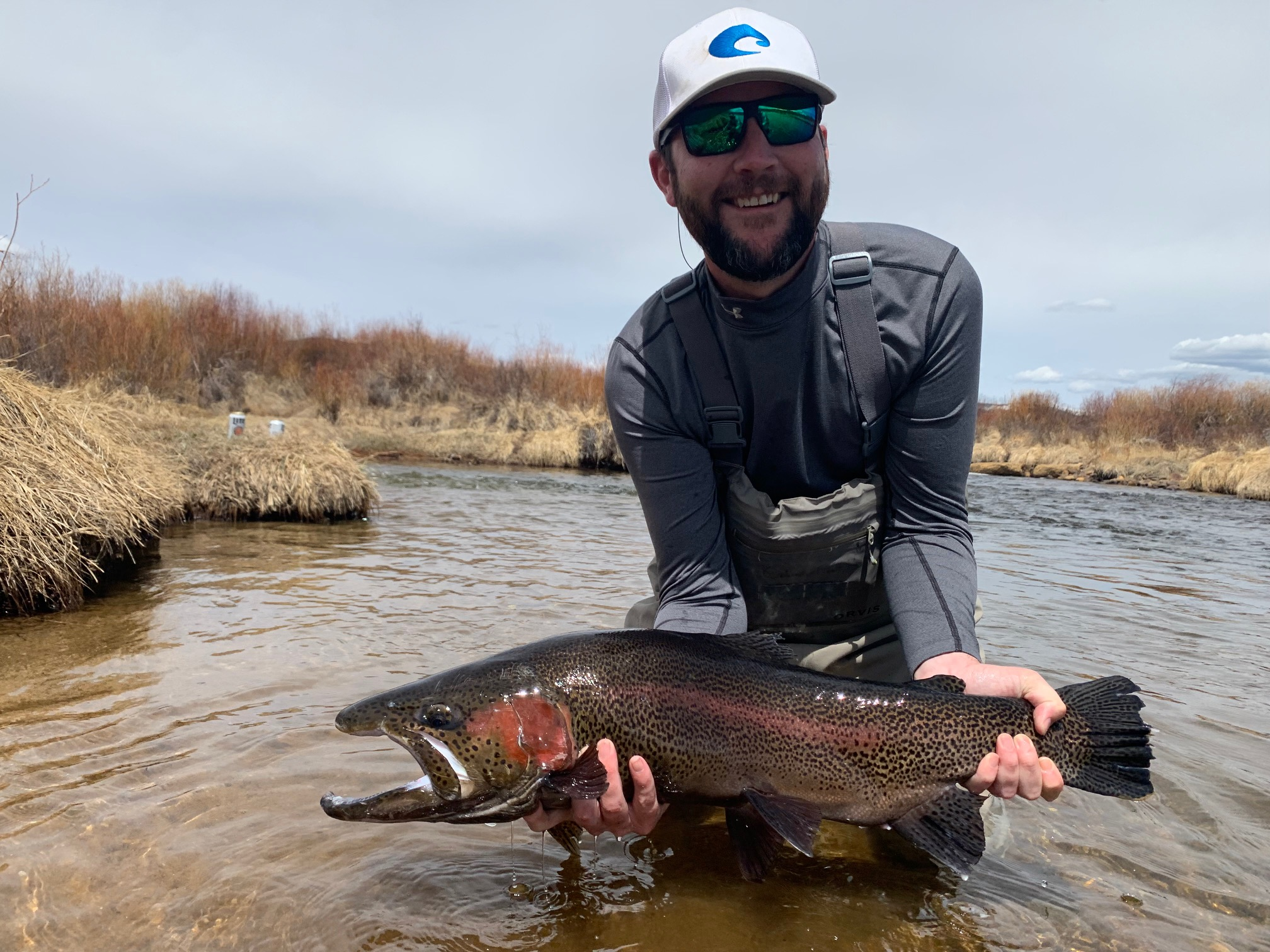 Fly fishing for giant trout at Rolling J Ranch.